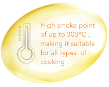 High smoke point up to 300 degrees Celsius, making it suitable for all types of cooking.
